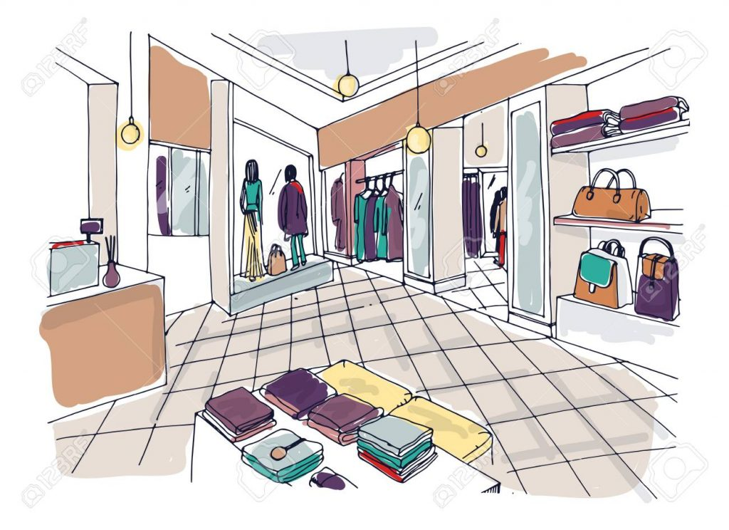 Colorful sketch of fashion showroom or shop, trendy apparel store or clothing boutique interior with shelving, counter, mannequins dressed in fashionable clothes. Hand drawn vector illustration.
